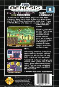 Genesis - Castle of Illusion Starring Mickey Mouse Box Art Back