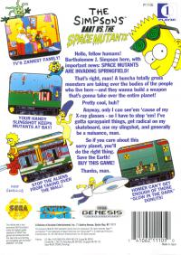 Genesis - The Simpsons Bart vs. the Space Mutants Box Art Back