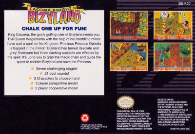 SNES - Cacoma Knight in Bizyland Box Art Back