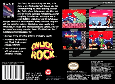 SNES - Chuck Rock Box Art Back