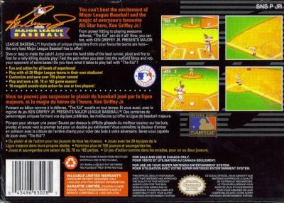 a94cafc8a7 ... SNES - Ken Griffey Jr Presents Major League Baseball Box Art Back