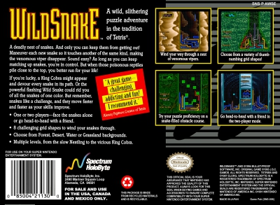 SNES - WildSnake Box Art Back